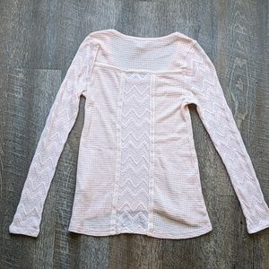 Lucky Brand Long Sleeve Waffle Knit Top